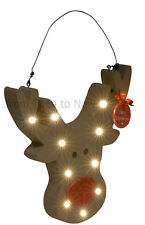 Rudolph Reindeer Wooden LED Light Up Plaque Christmas Decoration Chic Shabby