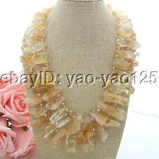 K050907 21''-23'' 2 Strands Top-Drilled Citrine Necklace