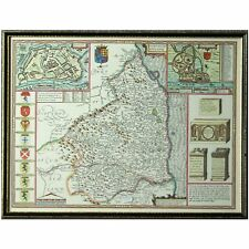Framed John Speede Northumberland 1610  England Map - Mid C20th Repro