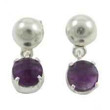 Purple Amethyst Genuine Gemstone Fine Sterling Silver 925 Stud Drop Earrings New