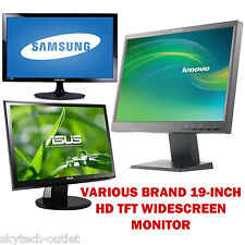 "19"" Inch Flat LCD TFT Monitor PC Computer 16:10 Display Screen (Various Brand) B"