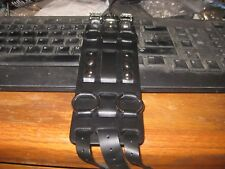 """Leather 2 1/2"""" wide Watch strap, NOS, Black, silver tone decor and 3 buckles,"""