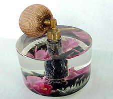 Beautiful Very Vintage Acrylic Bedroom Vanity Perfume Atomizer w Flowers
