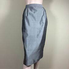 VALENTINO Damen Rock Gr S 36 Grau Seide Klassisch Edel Designer Luxus Skirt Jupe