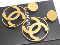 CHANEL Jumbo CC Logos Dangle Earrings Gold Tone Clips w/BOX