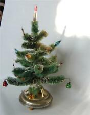 """Vintage Snowy Bottle Brush Xmas Tree Branched Mercury Decor Musical Spins 13"""""""