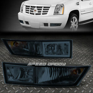 FOR 07-14 CADILLAC ESCALADE EXT ESV SMOKED LENS BUMPER DRIVING FOG LIGHT LAMPS