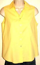 Talbots Petites Wrinkle Resistant Yellow Sleeveless Stretch Cotton Shirt Size 4P