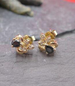 Reizende Saphir Diamant Damen Ohrstecker Ohrringe in 585 Gelbgold