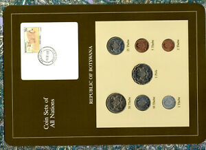 Coin Sets of All Nations Botswana 1981 & 1984 UNC Caracal -1IX88