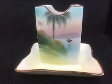 NIPPON HAND PAINTED MATCH BOX HOLDER PALM TREES BOAT SCENE
