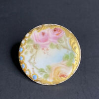 Antique Victorian 1800's Beautiful Hand Painted Floral Roses Stud Button Gold