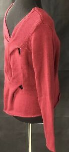 Burgundy V Neck Neely Cut Out Back Sweater Size M