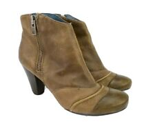 Nicole Brisk Womens Ankle Boots Sz 8 Booties Taupe Leather Distressed