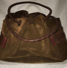 """Cole Haan Brown Suede/leather Duffle Bag Double Leather Weave Handle 16""""x12""""x10"""""""