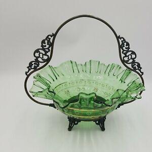 Brides Basket Green Glass Bowl, Hand Painted Flowers, Gold Trim Metal Basket