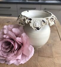 Cream French Vase With Lace Edge. Shabby Chic Country Decor- NEW