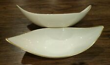 "Lenox Vintage Candy Bowl Party 9X3"" Display Dish 1960s Set of 2 Gold Leaf"