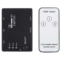 3 Port 1080P Video HDMI Switch Switch Splitter IR Remote Pour HDHE PS3 DVD HQ
