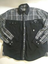 Akdmks Men's XL Long Sleeve Button Front Shirt Black/Gray 100%Cotton Embroidered
