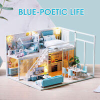 LED Light Wooden 3D DIY Dollhouse Miniature Furniture Decor Doll House Kids Gift