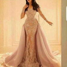 Long Sleeve Lace Mermaid Evening Party Dress Formal Prom Wedding Pageant Gown