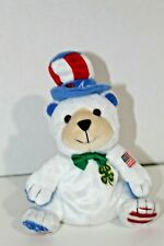 """4 H White Bear Glory Be plush clover 7"""" with 4-H Scarf Bow Tie American Flag Hat"""