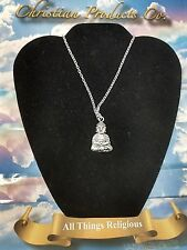 Silver Antique Buddha Religious Necklace