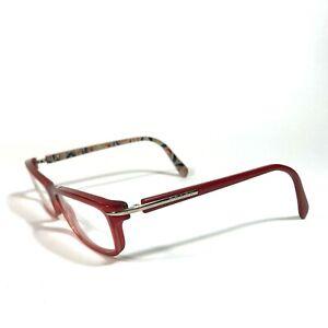 Prada Red Thin Rectangular Floral Full Rimmed Eyeglass Frames VPR 14N AB9-1O1