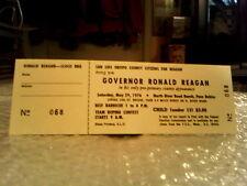RONALD REAGAN GOVERNOR RARE ORIGINAL VINTAGE 1 DAY EVENT TICKET 1976 -EXCELLENT!