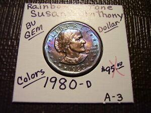Rainbow Tone Gold & Purple Colors 1980-D  Susan B. Anthony Dollar  Gem  A-3