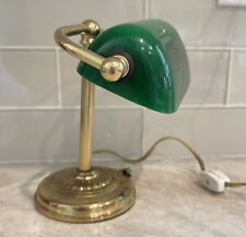 """Vintage Mini Bankers Lamp Brass Green Glass Shade Underwriters Laboratories 7"""""""