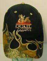 QUAIL FOREVER QUAIL PHEASANTS HABITAT CONSERVATION BLACK CAMOUFLAGE HAT CAP