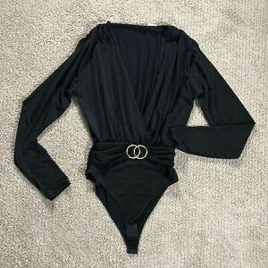 Body donna maglia maglietta sottogiacca manica lunga scollo V cinta lurex 14485
