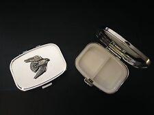 Stooping Falcon B15 English Pewter on Emblem Rectangular Travel Metal Pill Box