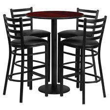 30' Round Mahogany Finish Bar Height Laminate Table Set w/ 4 Metal Bar Stools