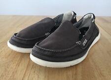 Crocs Walu Women's Brown Canvas Loafer Slip On Boat Shoe 8