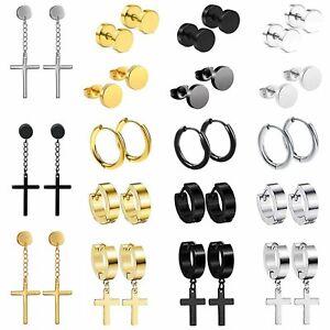 18Pairs Stainless Steel Cross Dangle Hinged Huggie Studs Hoop Studs Earrings