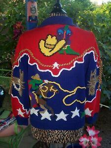 RARE Retro Rodeo Cowgirl Western Bucking Horse Embellished Sweater~S/M~Berek EUC