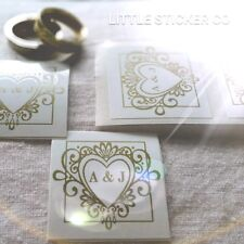 Wedding Stickers Personalised with initials gloss white and gold heart  x100