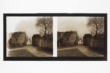 Remparts de Provins France Photo C35 stereo Plaque de verre Vintage 1927