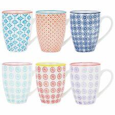 Nicola Spring NS-KK428 - 433 Patterned Coffee/Tea Mug - 6 Pieces