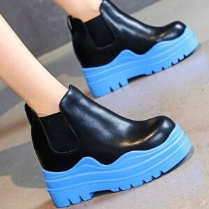Punk Creeper Shoe Women Cow Leather Round Toe Platform Wedge Ankle Boots Party