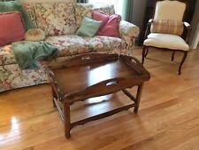 Beautiful Ethan Allen Country French Coffee Table Butler's Tray Brown VGC