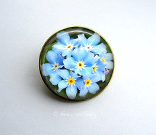 Gold Tone Forget-Me-Not Flower Photo Art Glass Brooch