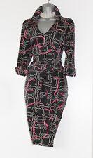 Karen Millen Dark Grey Print Silk Trench Shirt Casual Formal Prom Dress 12 UK