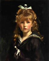 ZWPT587 long hair &Hair knot little girl hand painted art oil painting canvas