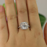 Cushion Cut 2.40Ct Diamond Wedding Solitaire Engagement Ring Real 14k White Gold