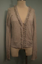Banana Republic Gray Cashmere Blend Cardigan Sweater Ruffle M Excellent