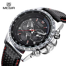 MEGIR Men's Fashion Military Sport Quartz Wrist Watch Leather Band Xmas Gift